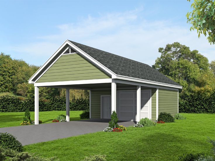 062g 0115 Double Carport Plan With Workshop Double Carport Carport Plans 2 Car Garage Plans