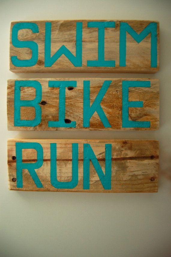 Tri Season! Triathlon Signs in Reclaimed Pallet Wood - SWIM BIKE RUN - Triathlete Gift - Sign Set - Ironman Finisher Signs - Turquoise Blue