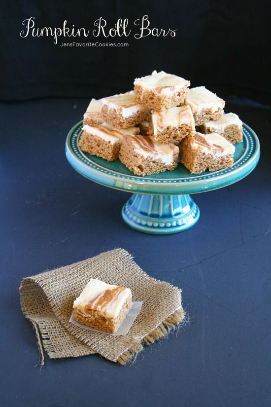 Pumpkin Roll Bars from JensFavoriteCookies.com  - tastes exactly like a pumpkin roll, but without the rolling.