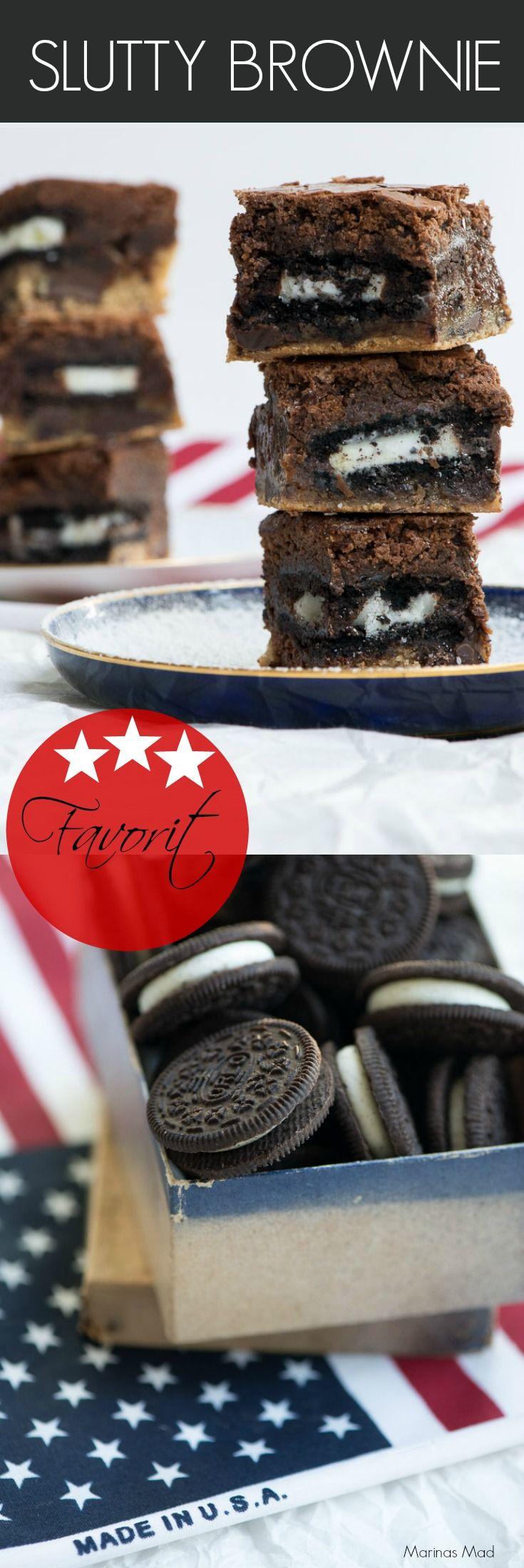 Slutty brownie: Fabelagtig lækker brownie med oreo og cookie. Når du har bagt den én gang vil alle plage dig om at bage den igen og igen og igen.