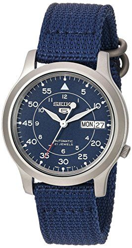 Seiko Mens SNK807 Seiko 5 Automatic Stainless Steel Watch with Blue Canvas Band >>> Click image for more details.