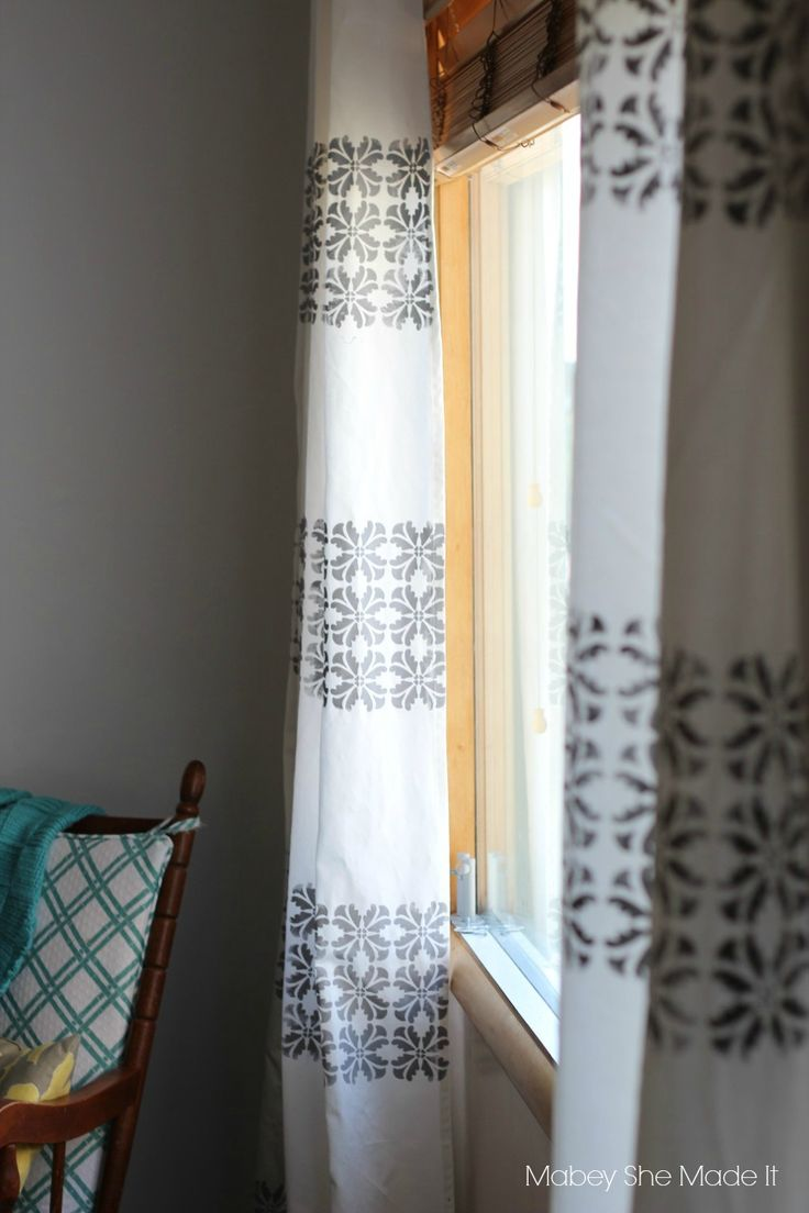 Vintage wooden window frame with curtain and flowerpot stock - Diy Stenciled Curtains