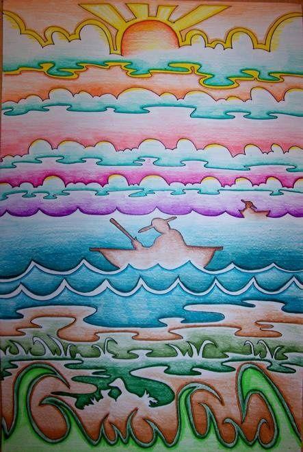 Line Art Landscape : Continual horizontal line landscape ms art pinterest