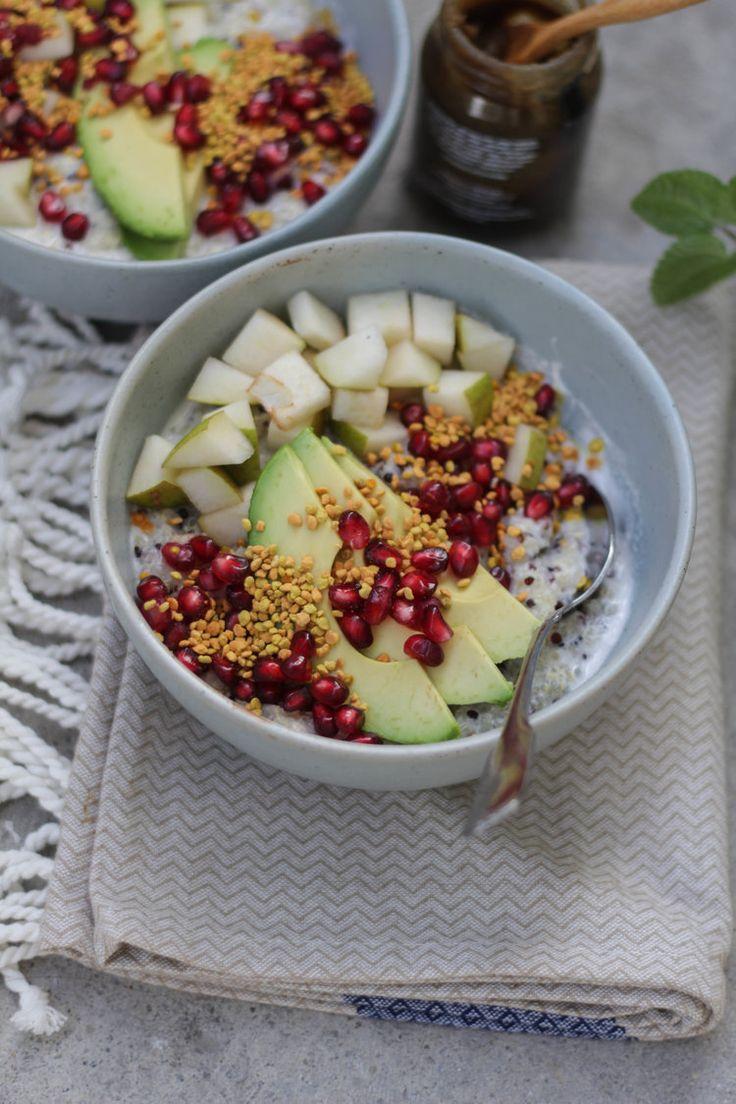 Coconut Quinoa Porridge with Avocado + Pomegranate by KIKAN BLVD.