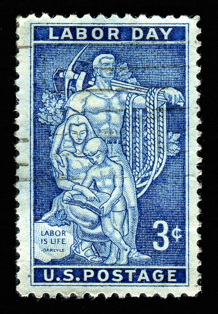 """Have a Happy, Labor Day. """"This is a USA .3¢ stamp issued September 3, 1956, to commemorate Labor Day, which began in 1882."""""""