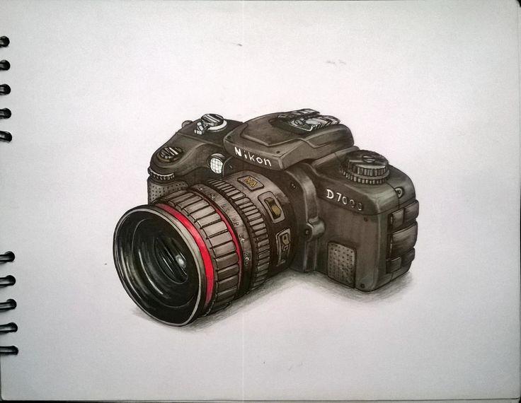 Camera Nikon Sketch. marcadores, markers, illustration, ilustracion.