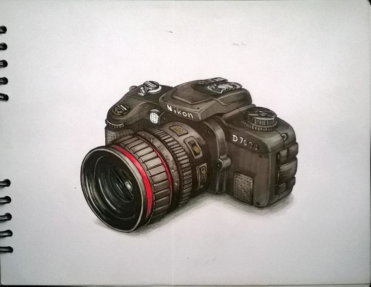 Camera Nikon Sketch. marcadores, markers, illustration, ilustracion.