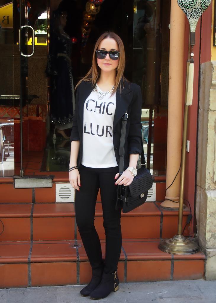 Chic allure 21-4-2014  Blazer : Blanco Camiseta : Shana Pantalones : Primark Botines : Lefties
