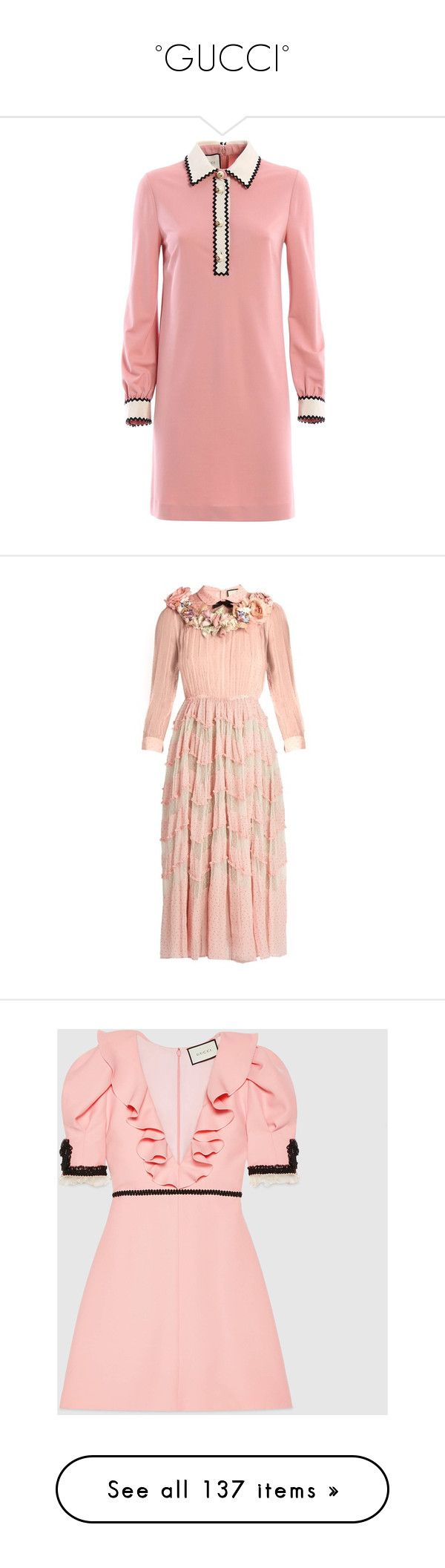 """°GUCCI°"" by marcellamic ❤ liked on Polyvore featuring dresses, gucci dress, gucci, red dress, gowns, flower printed dress, sheer gown, pink dress, pink polka dot dress and pink ball gown"