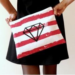 Çizgili DIAMOND Portföy  #tarz #kırmızı #tasarım #moda #tasarımcı #design #style #fashion #red #stripe #diamond #bag #purse #handbag #unique