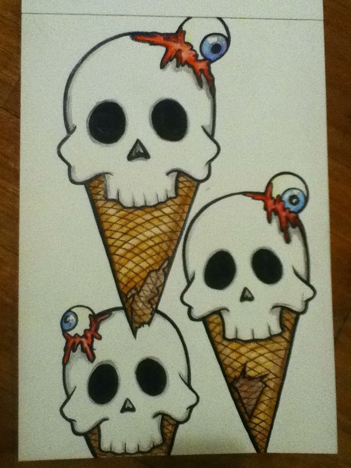 Skullscreamcone. Ink and water colours. All artwork posted is done by me (neonstar) unless stated :)