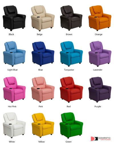 Children Vinyl Recliner with Cup Holder & Headrest Available in Multiple Colors