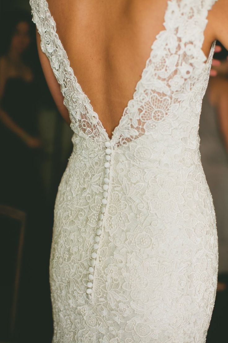 Love the buttons! The lace is beautiful too.  :)  for those of us without boobs a dress like this is still elegant and stunning with straps
