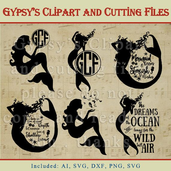 Mermaids, Ocean, Surf, Beach, Silhouettes Templates, Save the Date, Clipart, Vector, Cutting file, Pattern, png, svg,ai,eps, dxf by gypsysclipart. Explore more products on http://gypsysclipart.etsy.com