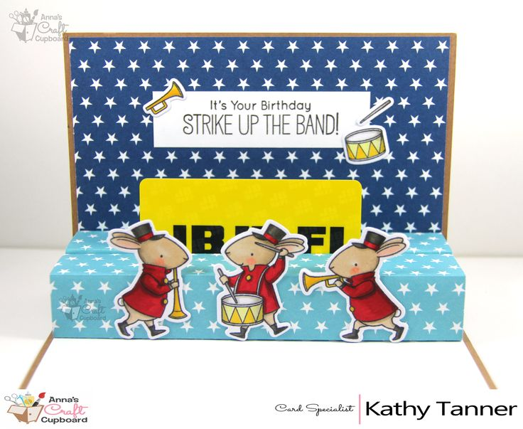 I am excited to introduce to you KATHY TANNER who is joining the Anna's Family as our card specialist!! Kathy will highlight the gorgeous My Favourite Things range of stamps, dies and paper pads. Kathy has already been busy making a number of cards featuring the Strike Up The Band stamp and die - and her first card has a fantastic point of difference!! You can see Kathy's creation up on Anna's blog now, and she also has step by step tutorial if you wish to try it yourself!