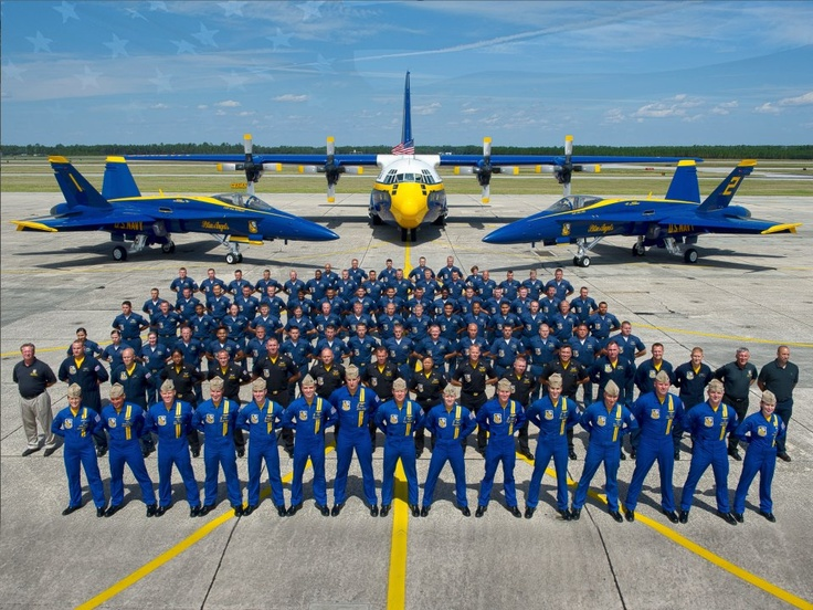 """Blue Angles Squadron. C-130 Hercules """"Fat Albert"""" in background"""