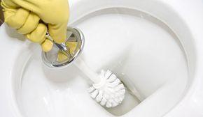 Despeje vinagre branco (preferencialmente de álcool, limão ou maçã) no vaso sanitário e deixe agir por 30 minutos.  Coloque um pouco de bicarbonato de sódio em uma escova para limpeza de vasos e esfregue as áreas manchadas. Por fim, é só dar descarga.