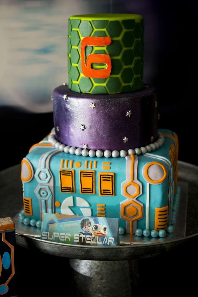Cool cake at a Miles from Tomorrowland birthday party! See more party ideas at CatchMyParty.com!