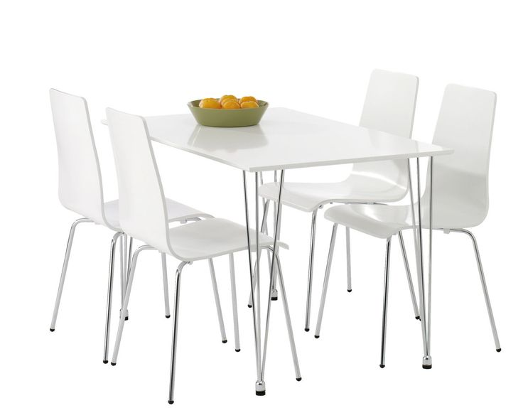 Bord FLOYD hvid + 4 stole hvid FLOYD | JYSK