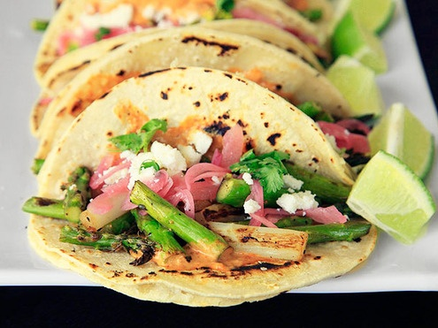 ... Grilled Asparagus Tacos with Creamy Adobo and Pickled Red Onions
