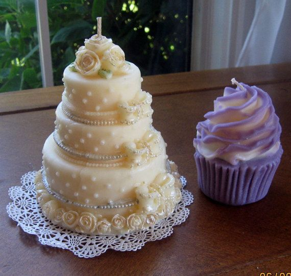 3 Tier Wedding Cake Candle by LivingTreeCandles on Etsy