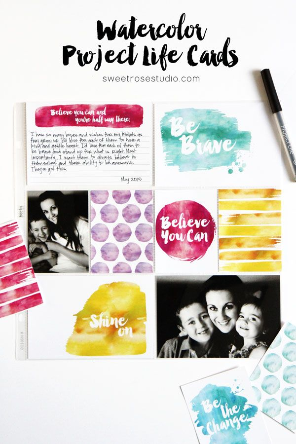 Free printable // Imprimibles / Watercolor Project Life Cards at Sweet Rose Studio