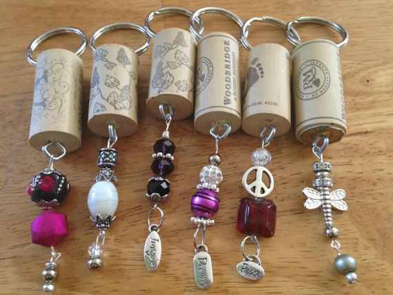 Wine cork key chains/ Handmade by reWINE4 on Etsy, $6.00