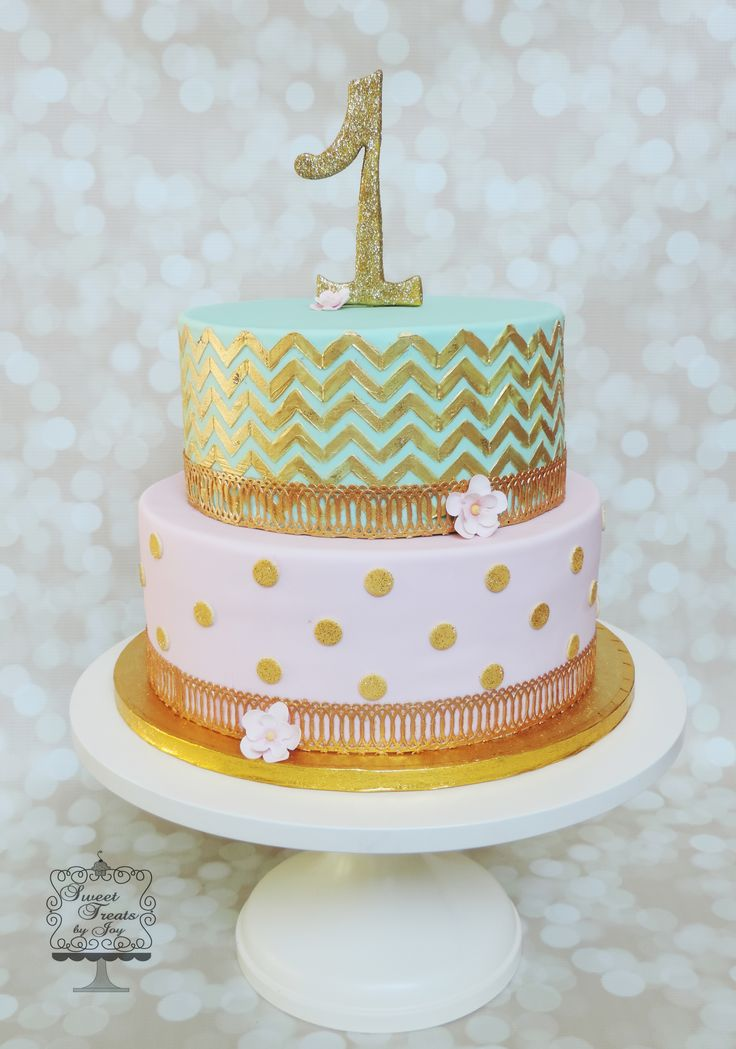 Mint with gold chevron with pink and gold polka dotted cake. Edible lace border.