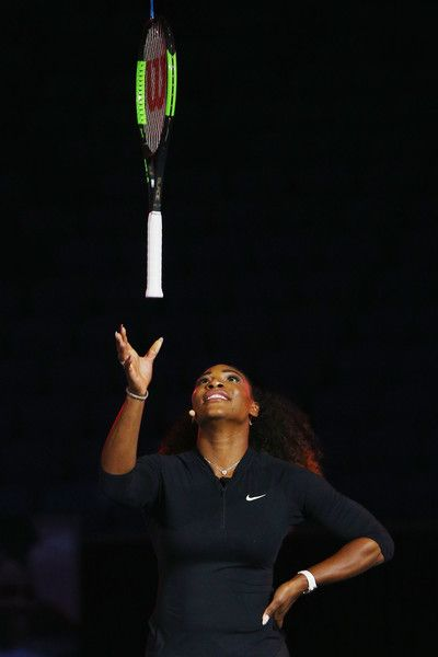 Serena Williams Photos Photos - Serena Williams of the USA takes part in a Wilson Racquet promotiton during a practice session ahead of the 2017 Australian Open at Melbourne Park on January 12, 2017 in Melbourne, Australia. - 2017 Australian Open - Previews