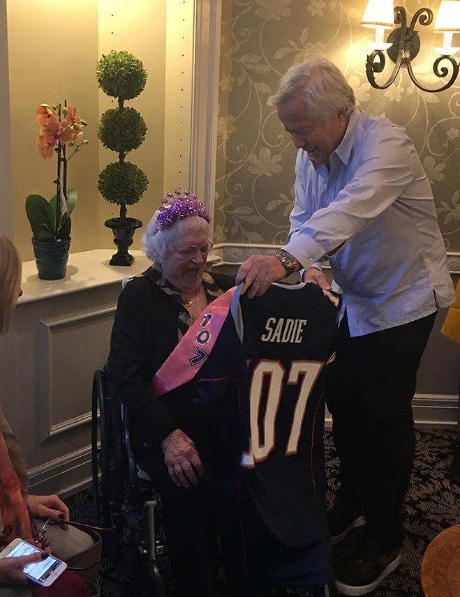 Robert Kraft helped a fan celebrate her 107th birthday on Friday.