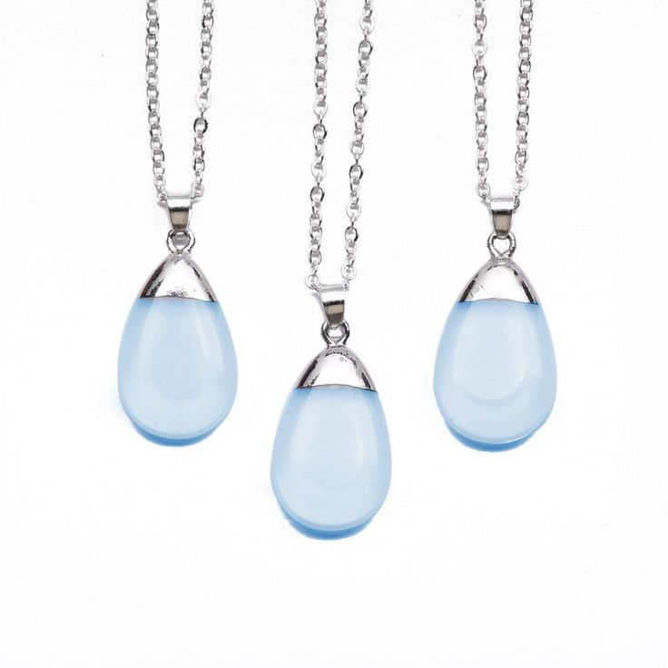 Fashion Water Drop Blue Opal Pendant Necklaces For Women Gold Sliver Plated Natural Stone Pendants Summer Necklace for Girls New