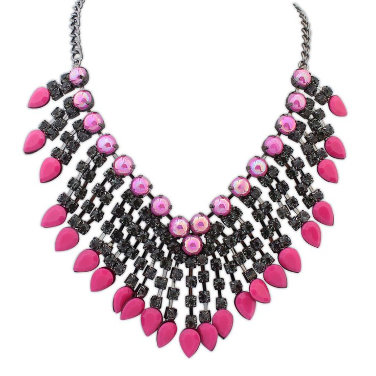 Collar de Declaración, aleación de zinc, con cadena de hierro & resina, Gota, chapado en color plomo negro, giro oval & facetas & con diamantes de imitación, Rojo