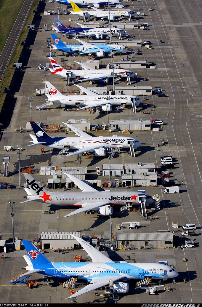 Boeing 787-8 Dreamliner aircrafts waiting to be delivered to customer airlines in Seattle, WA.