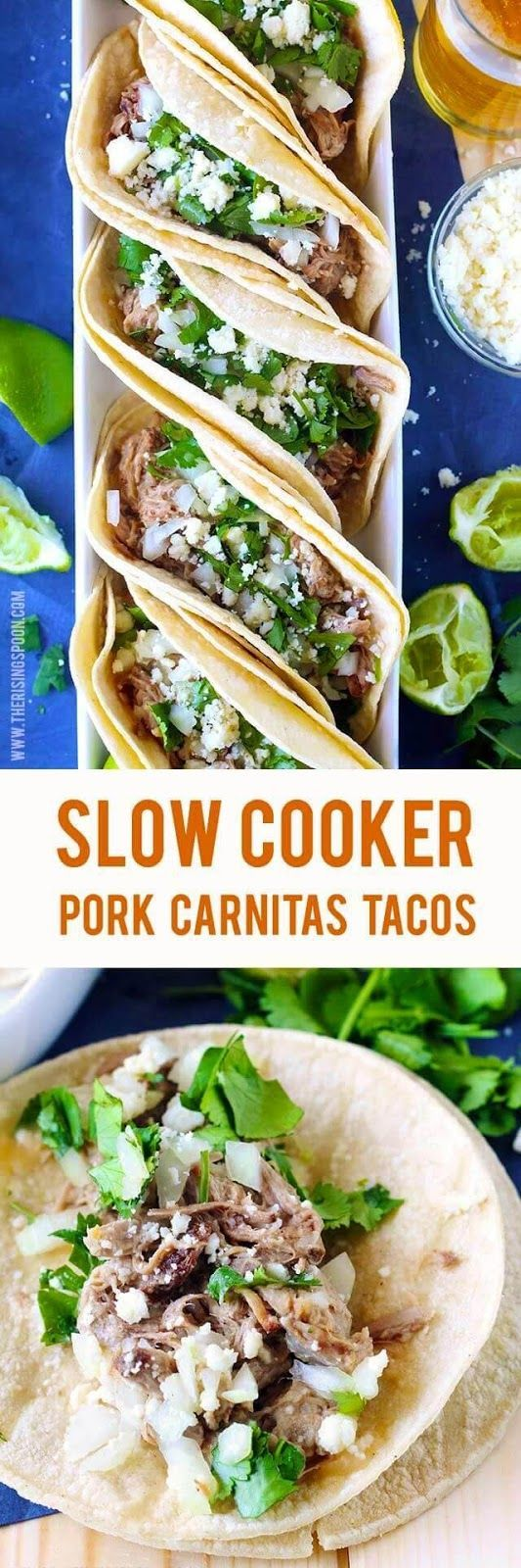 Imagine soft corn tortillas filled with tender, slightly crispy, and juicy shredded pork carnitas, chopped onion and cilantro, crumbled Mexican cheese, and a squeeze of fresh lime juice. Are you salivating yet? Carnitas tacos are perfect for a quick weekn