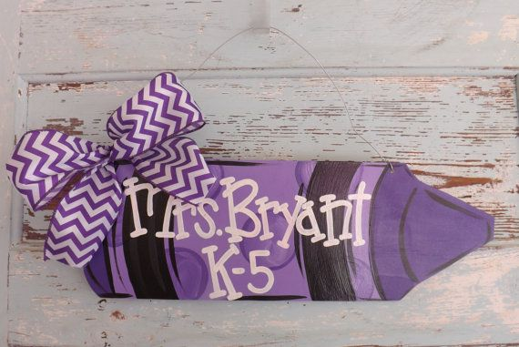 Teacher Door Sign, Classroom Door Hanger, Teacher's Gift, Teacher Appreciation, Crayon Door Hanger, Personalized Name Sign, School Teacher on Etsy, $30.00