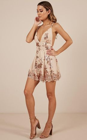 Boys Lining Up Playsuit In Rose Gold Sequin Produced