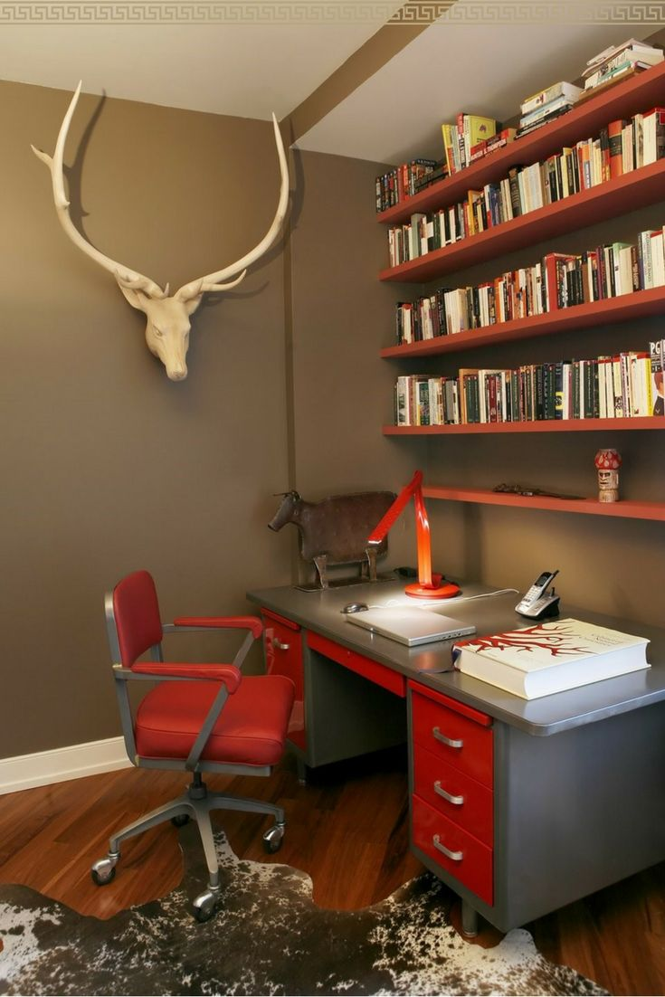 Cool rustic office décor! Work spaces should look good to inspire motivation :) I love the red office chair! #ad