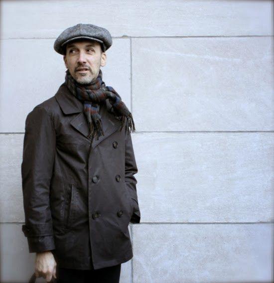 Men's classic pea coat made from Italian coated canvas bought at Mood Fabrics NYC.