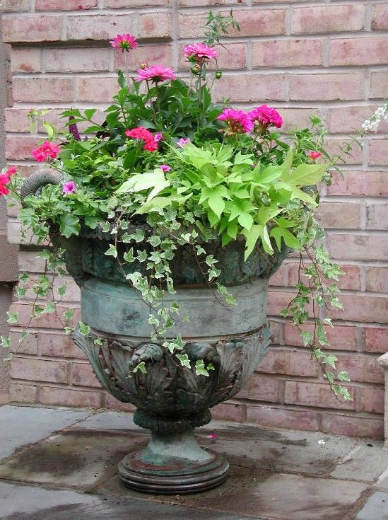 front porch urn planter hot pink chartreuse green
