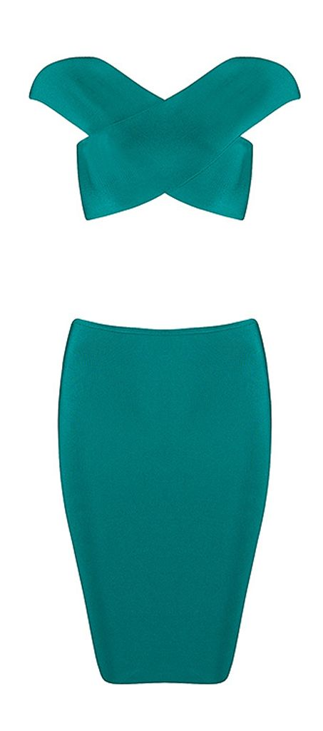 Criss-Cross Crop Top Mini Two Piece Sets Green Bandage Dress