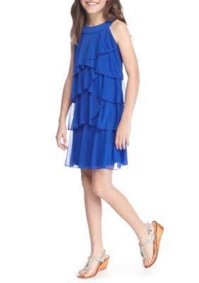 Sequin Hearts Girls Girls' Tiered Ruffle Dress Girls 7-16 - Electric Blue - 8