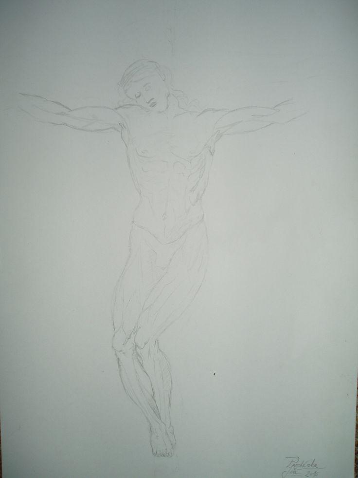 skica studie ukřížování podle Raffaella Raffaello Sanzio Study for a Crucifixion my  copi