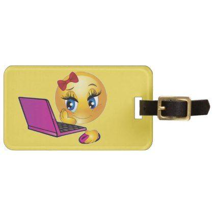 #Laptop Emoji Girl Luggage Tag - #emoji #emojis #smiley #smilies