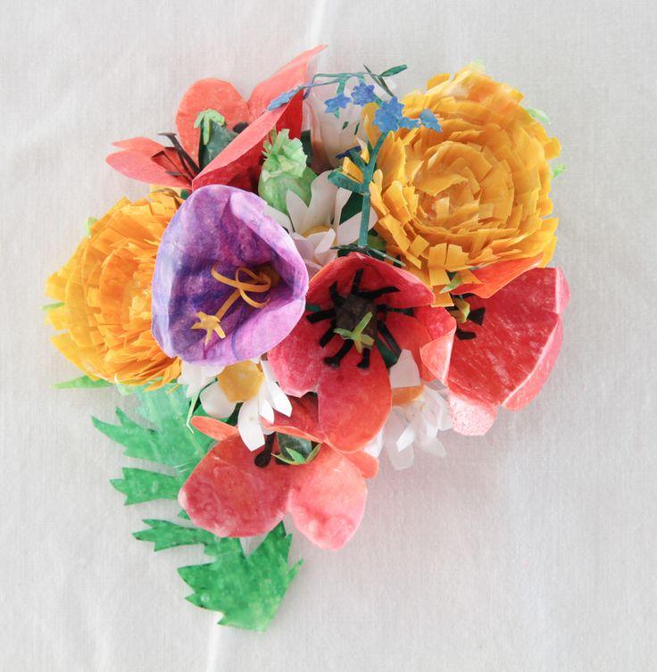 Paper wax flowers