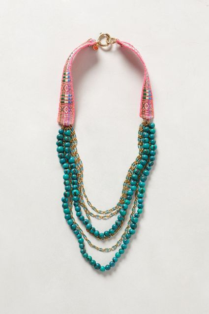 Caye Necklace - anthropologie.com Tagua, brass, vintage cotton fabric  $ 198