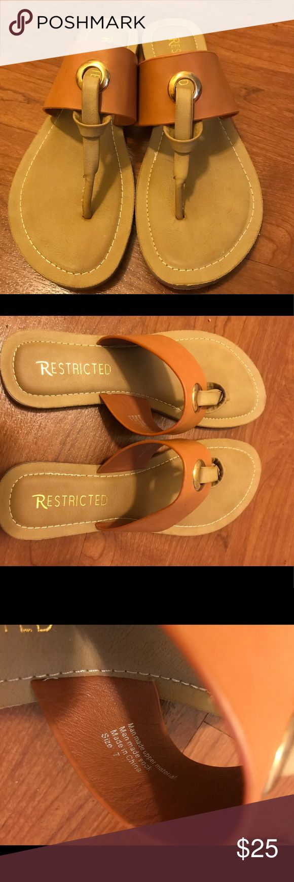 Restricted flip flop size 7. Worn once. It's too big for me. But these are super cute! It's like a brand new! Restricted Shoes