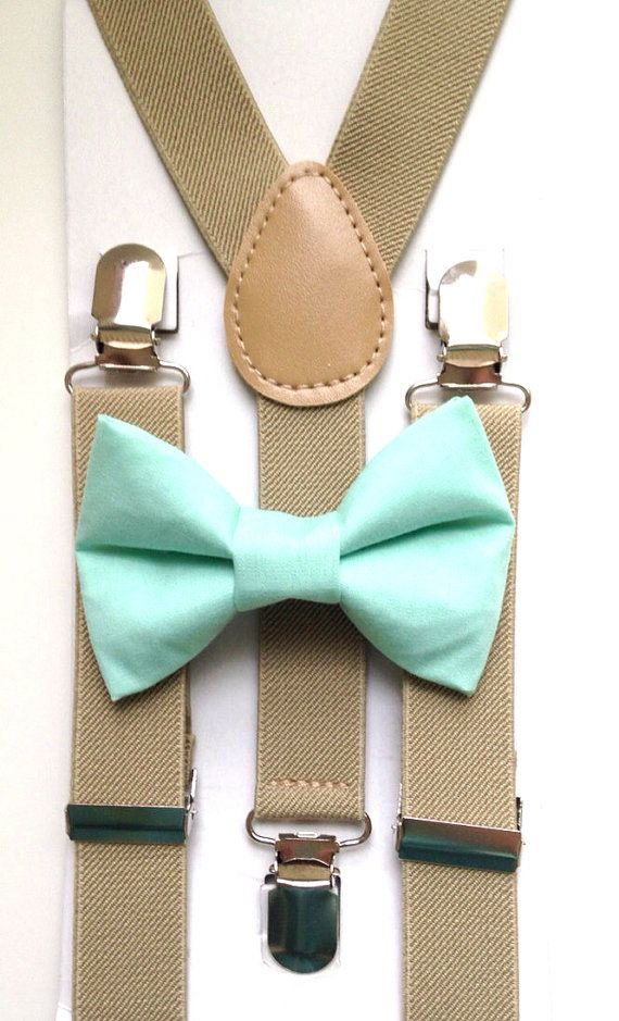 Tan suspenders Suspenders  Mint green bow tie kids by BowTieFun