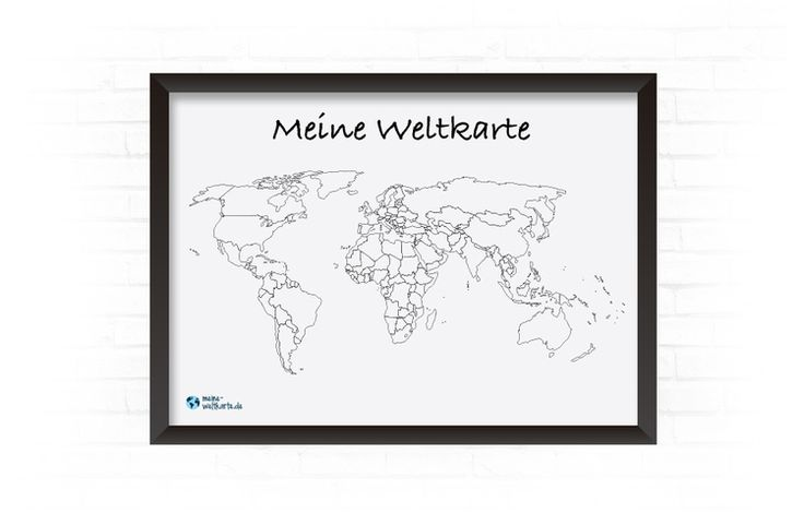 Meine Weltkarte - Weltkarte zum Ausmalen wo man schon war - Individuelle Weltkarte zum Ausmalen wo man schon war im Bilderrahmen