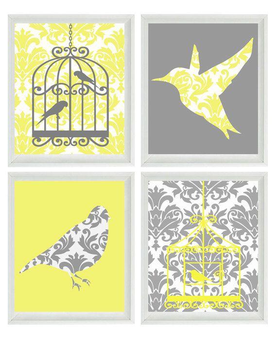 Birds Wall Art Print - Yellow Gray Decor Damask Bird Cage - Modern Nursery Children Girl Room