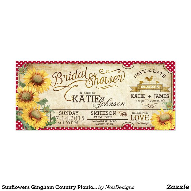 Sunflowers Gingham Country Picnic Bridal Shower Card Sunflowers and red gingham check rustic design for a country picnic bridal shower. Fun wedding invites. Customize invitations for your weddings. #invitations #invites #weddings   #bridal